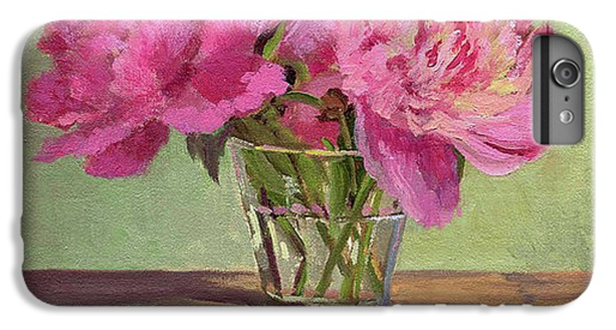 Still IPhone 6 Plus Case featuring the painting Peonies In Tumbler by Keith Burgess