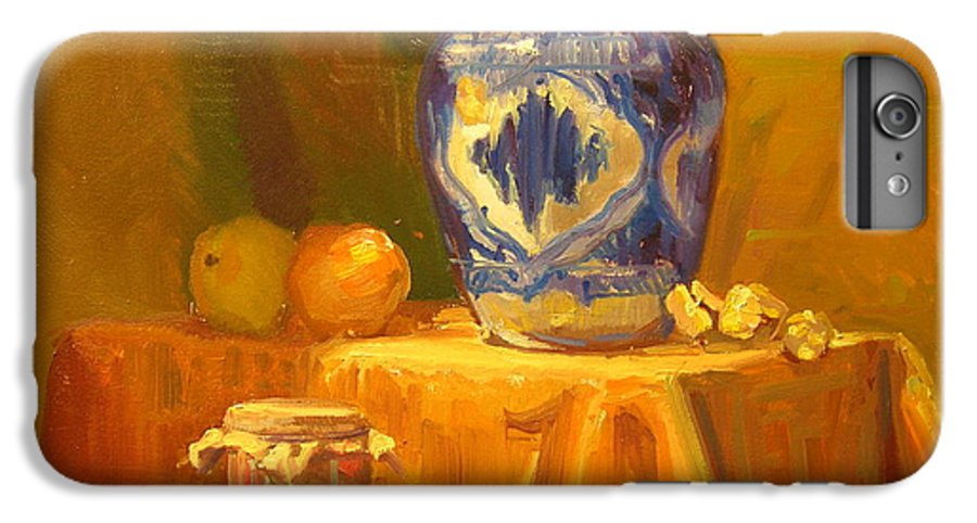 Still Life IPhone 6 Plus Case featuring the painting Persian Vase And Fruit Jar by David Dozier