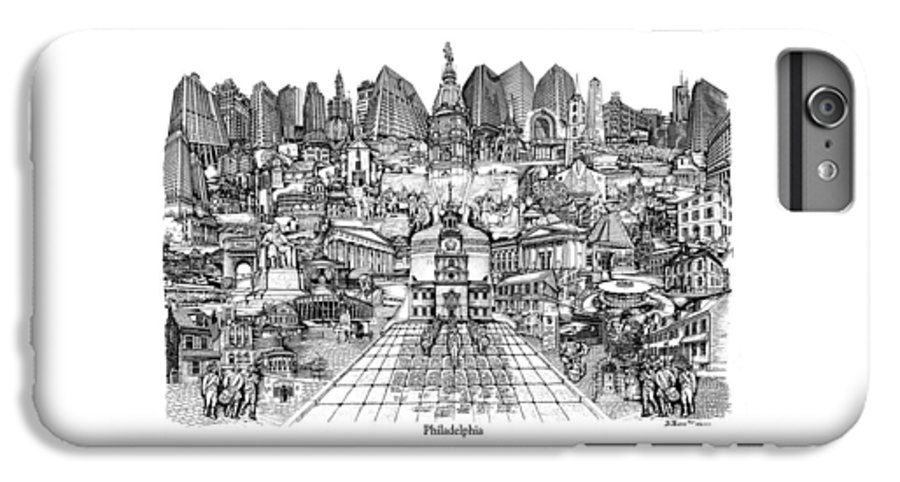 City Drawing IPhone 6 Plus Case featuring the drawing Philadelphia by Dennis Bivens