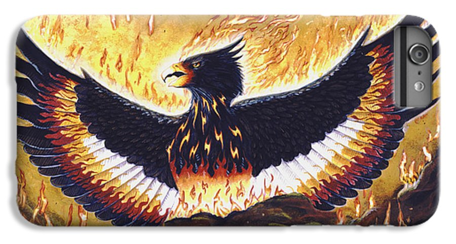 Phoenix IPhone 6 Plus Case featuring the painting Phoenix Rising by Melissa A Benson
