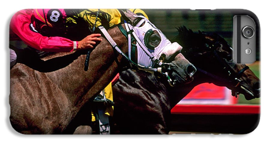 Horse IPhone 6 Plus Case featuring the photograph Photo Finish by Kathy McClure