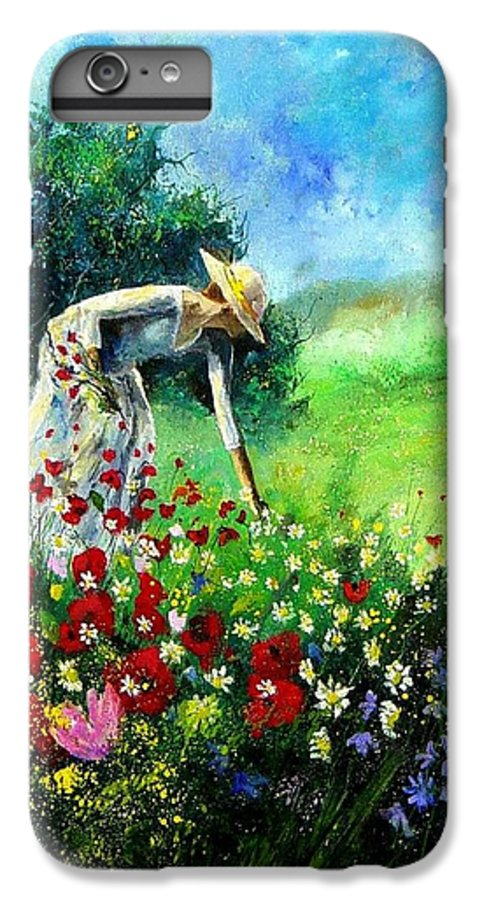 Poppies IPhone 6 Plus Case featuring the painting Picking Flower by Pol Ledent