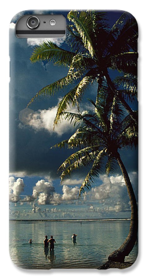 Island; Paradise; Beach; Palms; Palm; Palm Trees; Calm Water; Tropical; Swimmers; Vacation; Ideal; T IPhone 6 Plus Case featuring the photograph Pigeon Point On Tobago by Carl Purcell