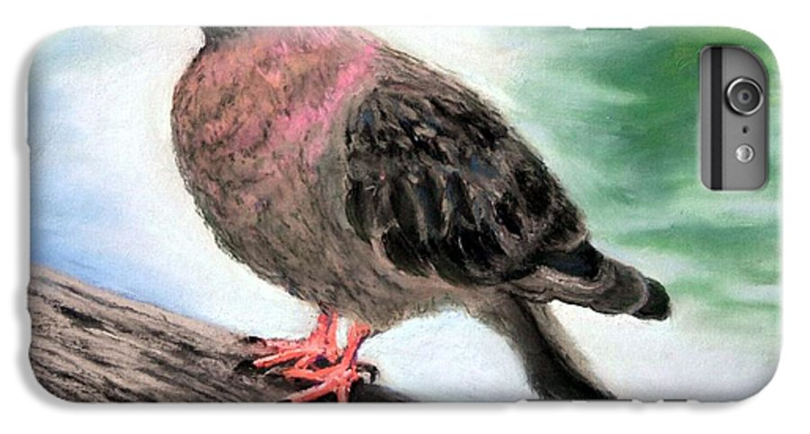 Pigeon IPhone 6 Plus Case featuring the painting Pigeon Toes by Minaz Jantz