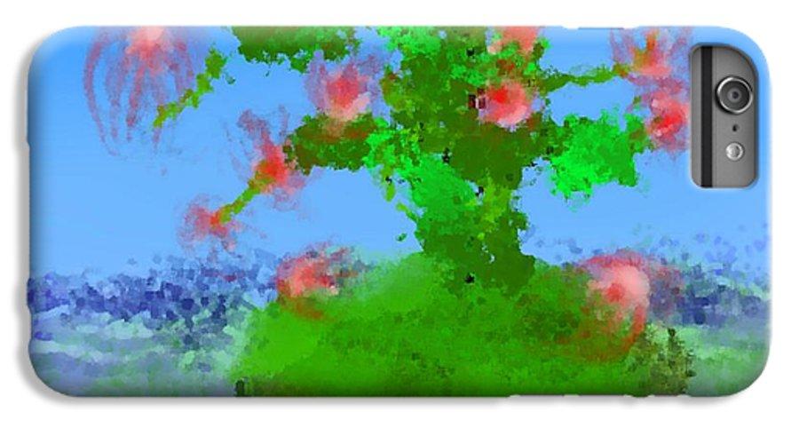 Landscape.sea.birds.island.sky.tree .rest Stop.wave.wind. IPhone 6 Plus Case featuring the digital art Pink Birds Ongreen Island by Dr Loifer Vladimir