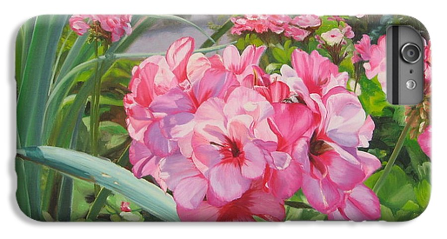 Pink Geraniums IPhone 6 Plus Case featuring the painting Pink Geraniums by Lea Novak