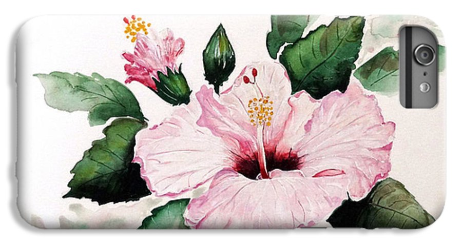 Hibiscus Painting  Floral Painting Flower Pink Hibiscus Tropical Bloom Caribbean Painting IPhone 6 Plus Case featuring the painting Pink Hibiscus by Karin Dawn Kelshall- Best