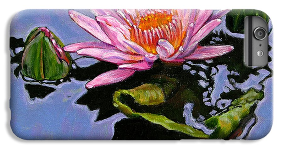 Water Lily IPhone 6 Plus Case featuring the painting Pink Lily With Dancing Reflections by John Lautermilch
