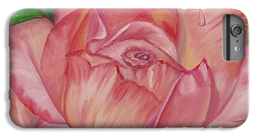 Flower IPhone 6 Plus Case featuring the painting Pink Rose by Quwatha Valentine