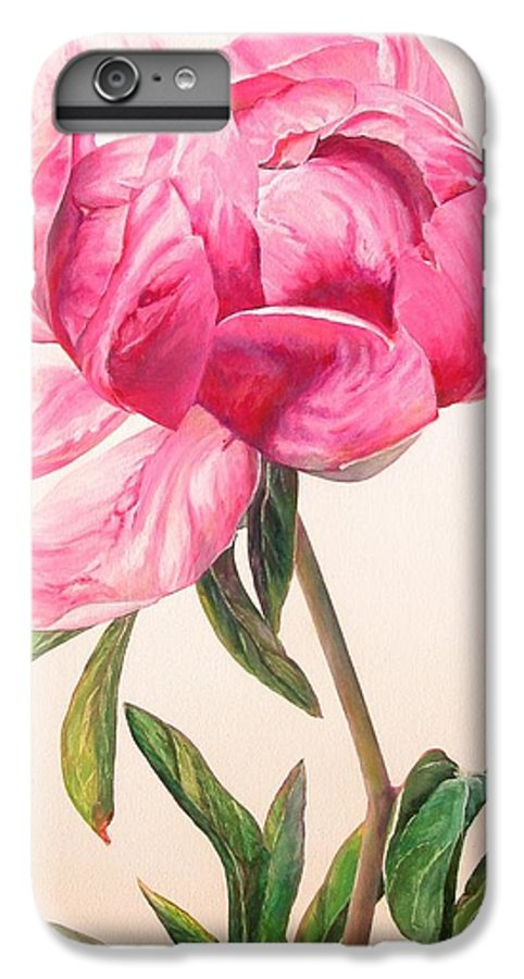 Floral Painting IPhone 6 Plus Case featuring the painting Pivoine 1 by Muriel Dolemieux