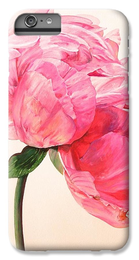 Floral Painting IPhone 6 Plus Case featuring the painting Pivoine 3 by Muriel Dolemieux