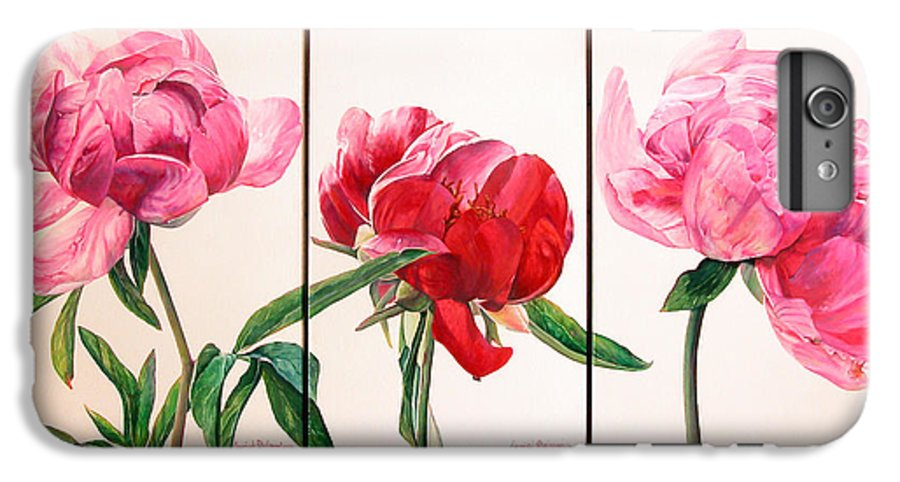 Floral Painting IPhone 6 Plus Case featuring the painting Pivoines by Muriel Dolemieux