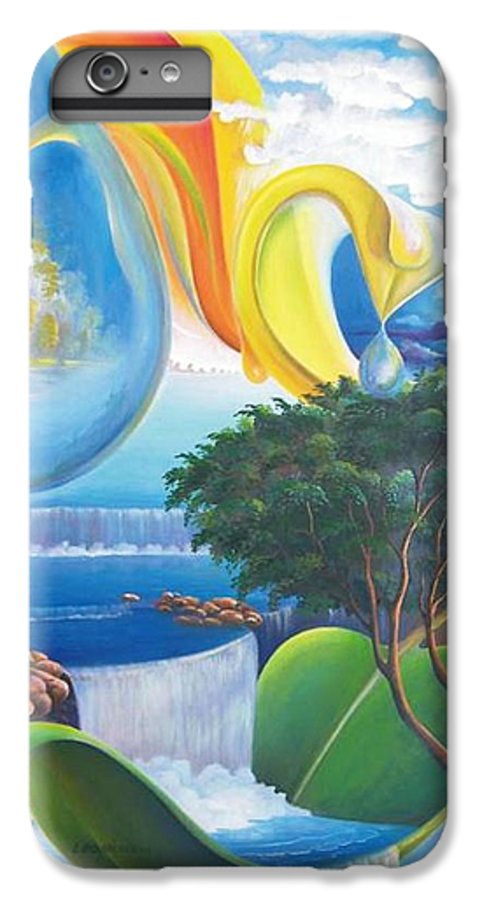 Surrealism - Landscape IPhone 6 Plus Case featuring the painting Planet Water - Leomariano by Leomariano artist BRASIL