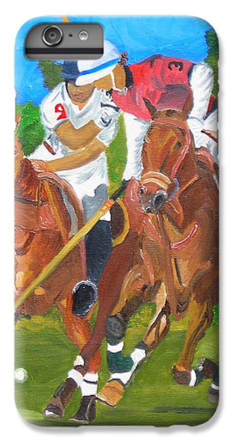 Polo IPhone 6 Plus Case featuring the painting Play In Motion by Michael Lee
