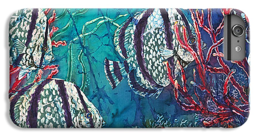 Fish IPhone 6 Plus Case featuring the painting Playful Trio by Sue Duda