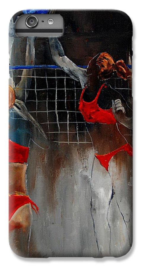Sport IPhone 6 Plus Case featuring the painting Playing Volley by Pol Ledent