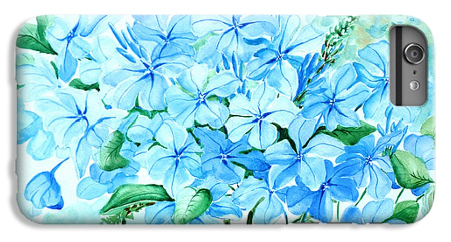 Floral Blue Painting Plumbago Painting Flower Painting Botanical Painting Bloom Blue Painting IPhone 6 Plus Case featuring the painting Plumbago by Karin Dawn Kelshall- Best