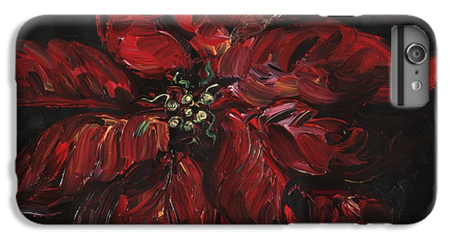 Abstract IPhone 6 Plus Case featuring the painting Poinsettia by Nadine Rippelmeyer