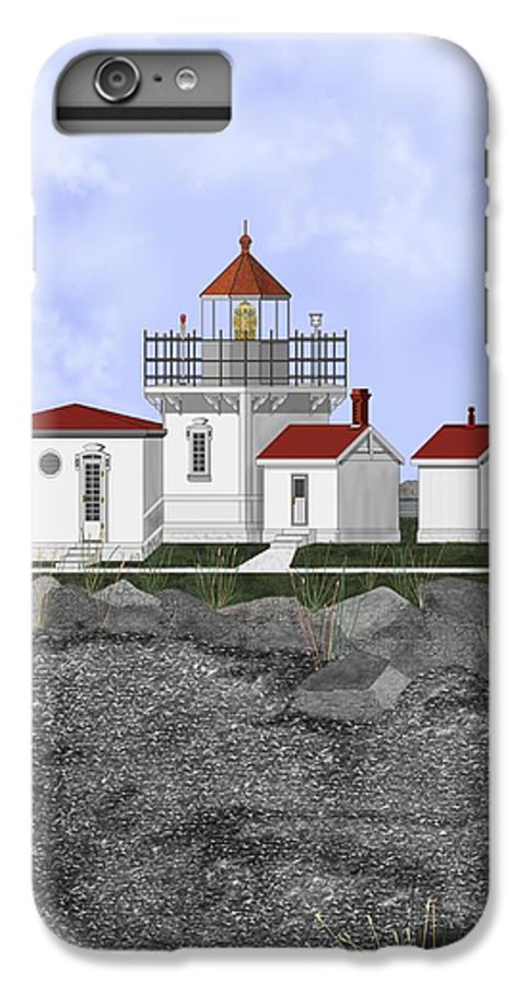 Lighthouse IPhone 6 Plus Case featuring the painting Point No Point Lighthouse by Anne Norskog