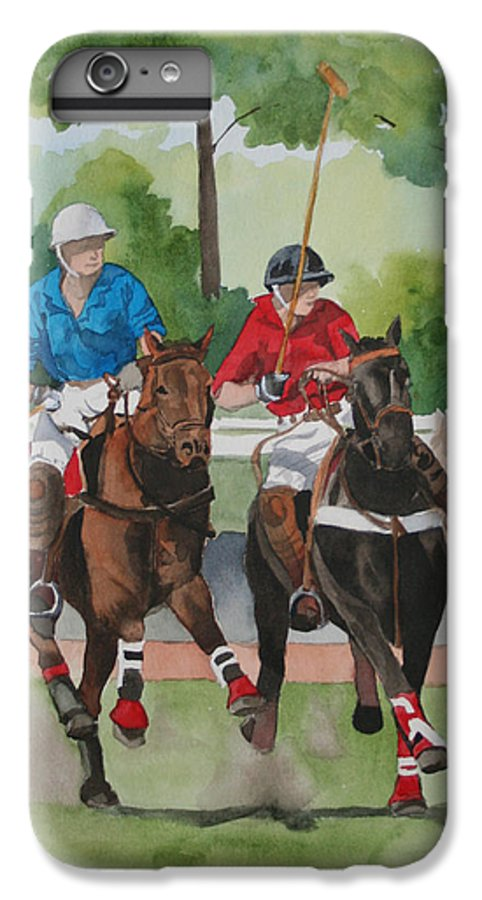 Polo IPhone 6 Plus Case featuring the painting Polo In The Afternoon 2 by Jean Blackmer