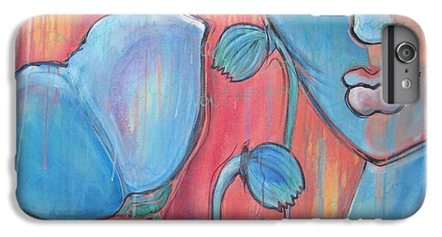 Pop Art IPhone 6 Plus Case featuring the painting Poppies 7 Luna Let Me Go by Laurie Maves ART