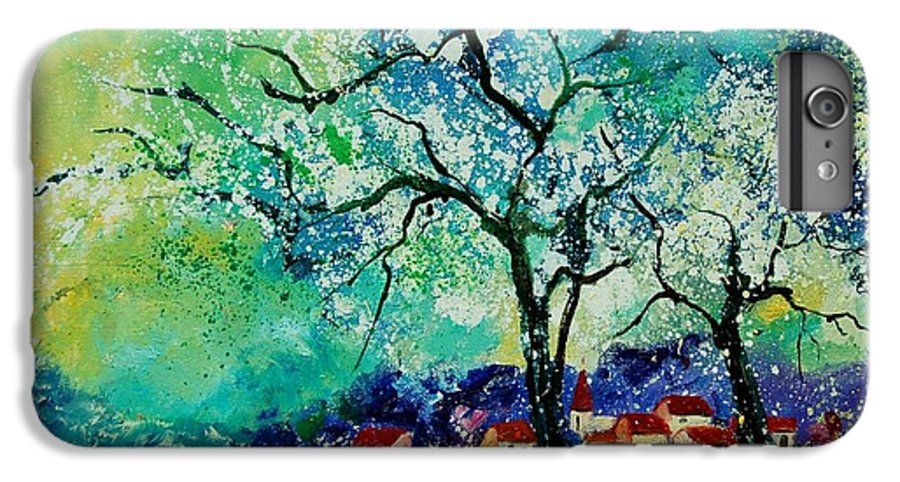 Landscape IPhone 6 Plus Case featuring the painting Poppies And Appletrees In Blossom by Pol Ledent