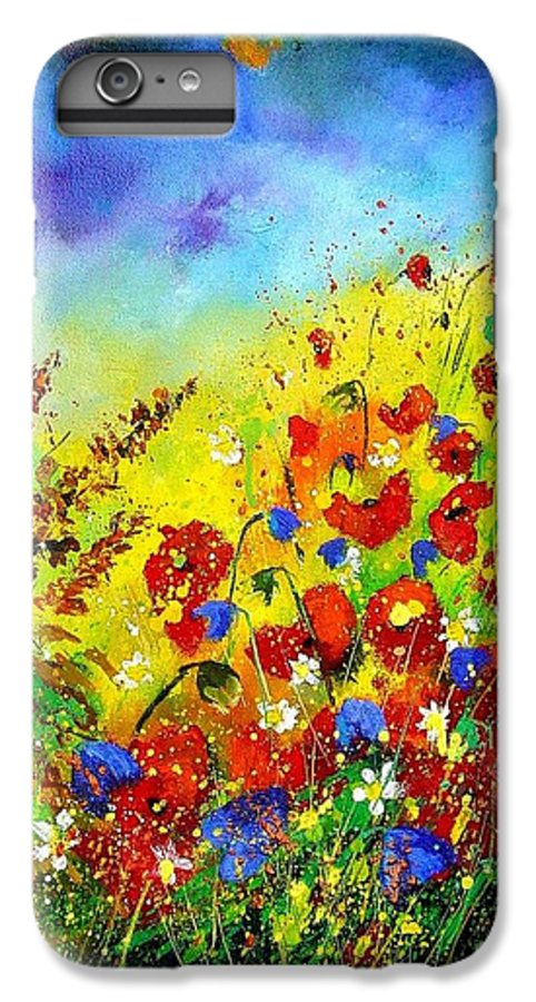 Poppies IPhone 6 Plus Case featuring the print Poppies And Blue Bells by Pol Ledent