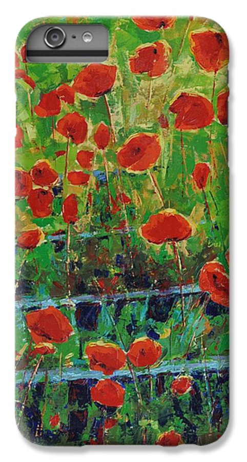 Poppies IPhone 6 Plus Case featuring the painting Poppies And Traverses 1 by Iliyan Bozhanov