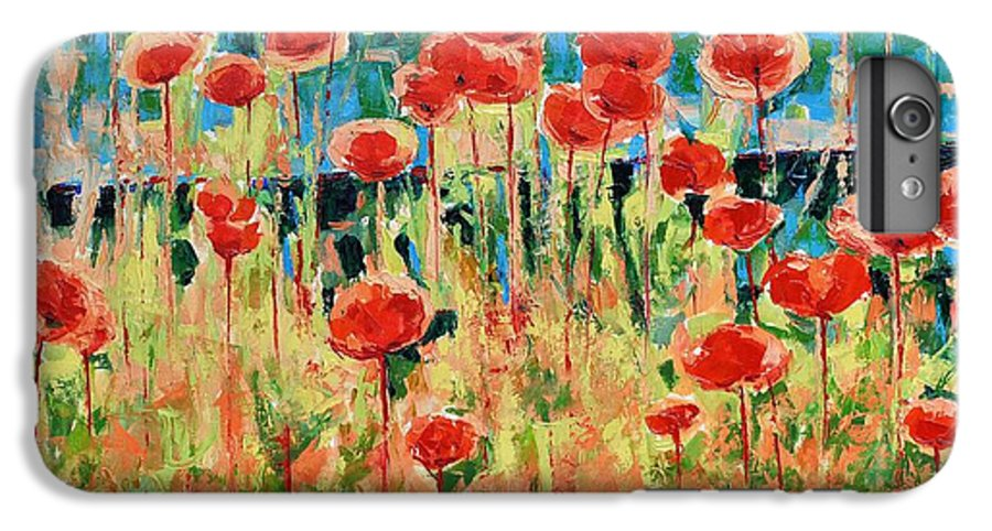Poppies IPhone 6 Plus Case featuring the painting Poppies And Traverses 2 by Iliyan Bozhanov