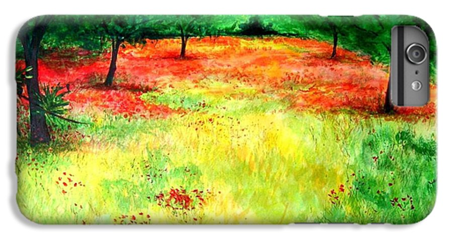 Landscape IPhone 6 Plus Case featuring the painting Poppies In The Almond Grove by Lizzy Forrester