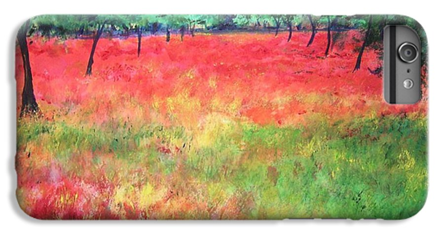 Original Landscape Painting. Poppy Field IPhone 6 Plus Case featuring the painting Poppy Field II by Lizzy Forrester
