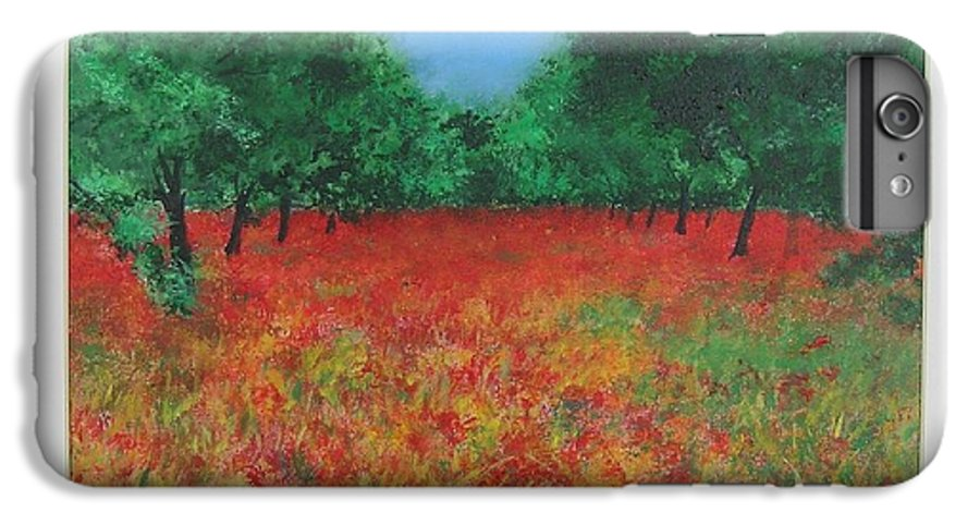 Poppy IPhone 6 Plus Case featuring the painting Poppy Field In Ibiza by Lizzy Forrester