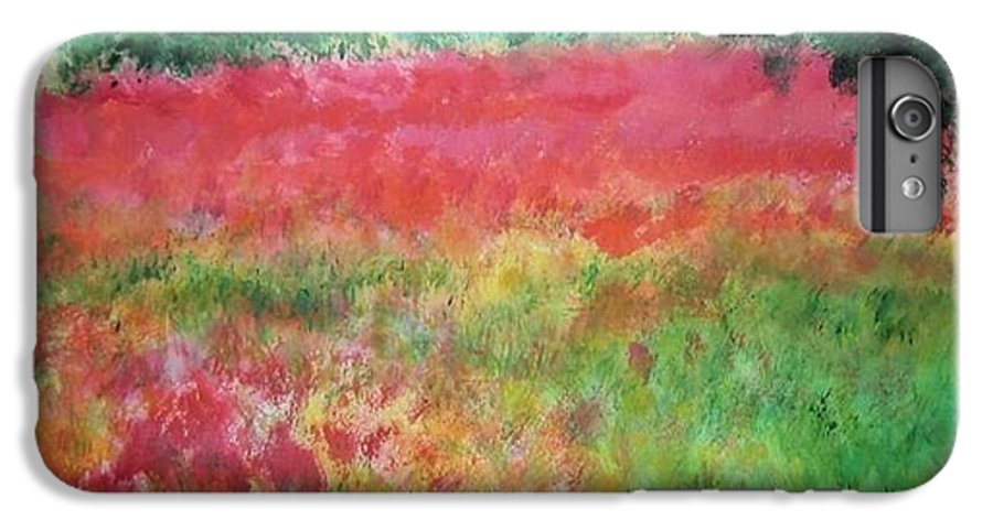 Lanscape IPhone 6 Plus Case featuring the painting Poppy Field by Lizzy Forrester