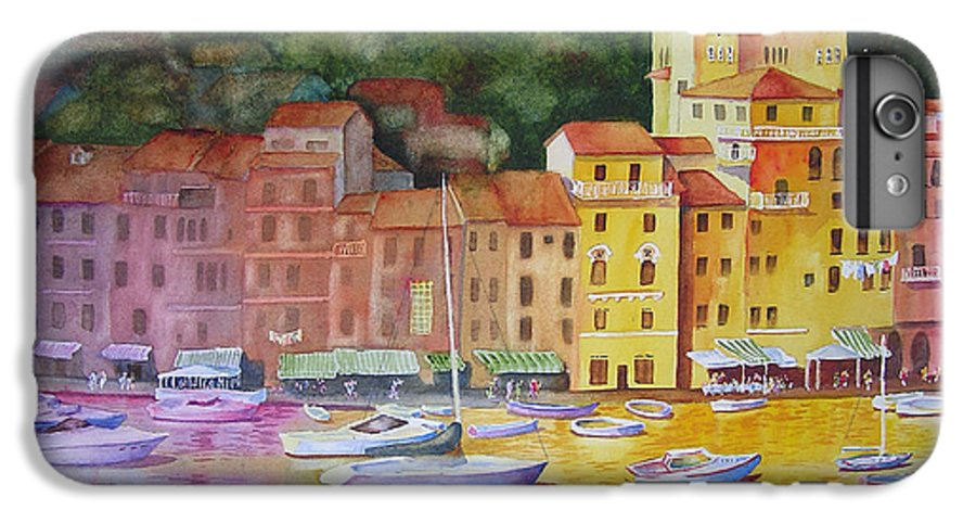 Italy IPhone 6 Plus Case featuring the painting Portofino Afternoon by Karen Stark