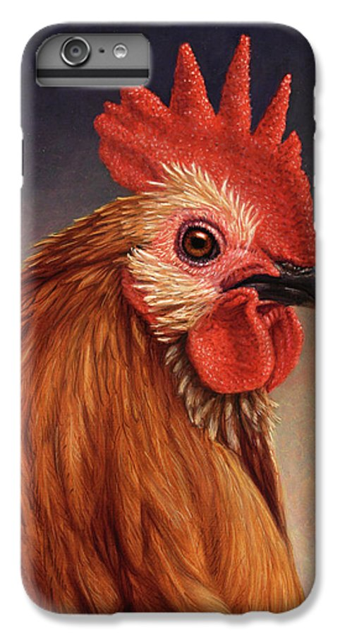 Rooster IPhone 6 Plus Case featuring the painting Portrait Of A Rooster by James W Johnson