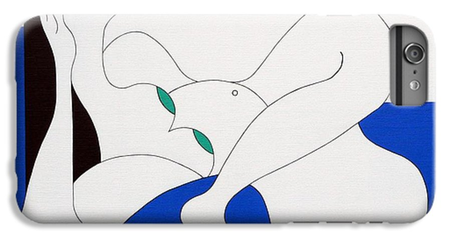 Women Green Bleu White Special IPhone 6 Plus Case featuring the painting Position Women by Hildegarde Handsaeme