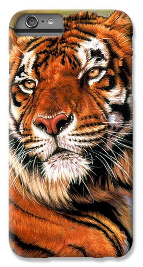Tiger IPhone 6 Plus Case featuring the pastel Power And Grace by Barbara Keith
