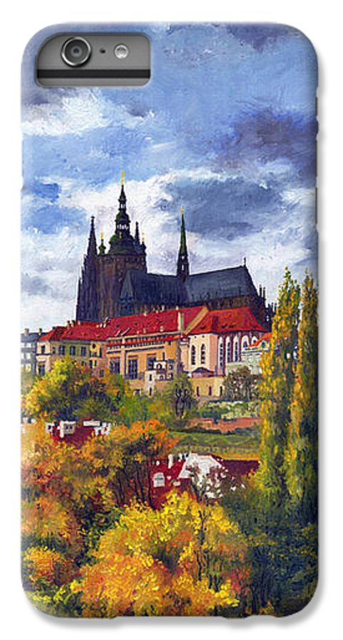 Prague IPhone 6 Plus Case featuring the painting Prague Castle With The Vltava River by Yuriy Shevchuk
