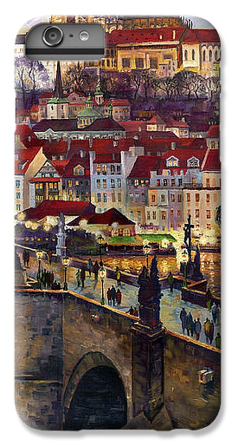 Prague IPhone 6 Plus Case featuring the painting Prague Charles Bridge With The Prague Castle by Yuriy Shevchuk