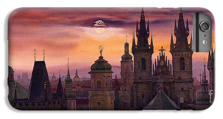 Cityscape IPhone 6 Plus Case featuring the painting Prague City Of Hundres Spiers by Yuriy Shevchuk