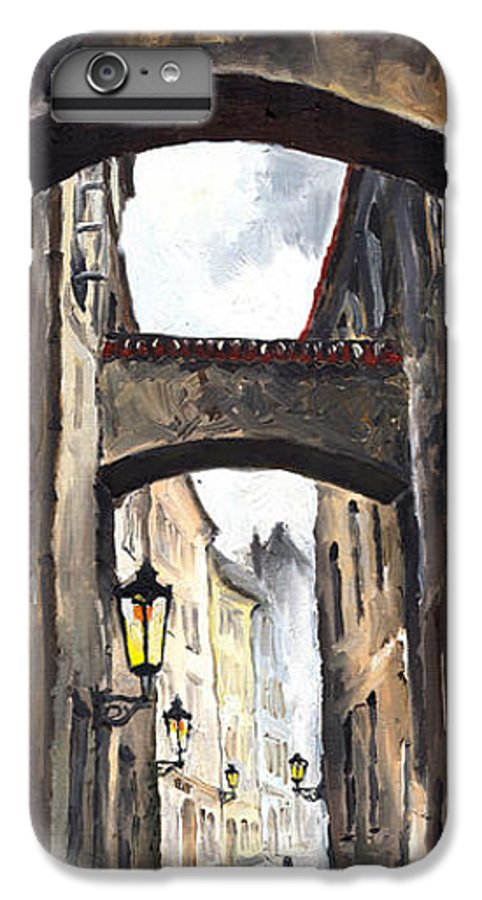 Oil On Canvas Paintings IPhone 6 Plus Case featuring the painting Prague Old Street 02 by Yuriy Shevchuk