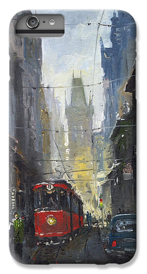 Oil On Canvas Paintings IPhone 6 Plus Case featuring the painting Prague Old Tram 05 by Yuriy Shevchuk
