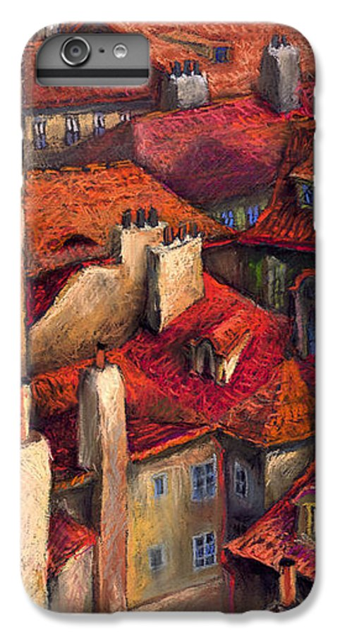 Prague IPhone 6 Plus Case featuring the painting Prague Roofs by Yuriy Shevchuk