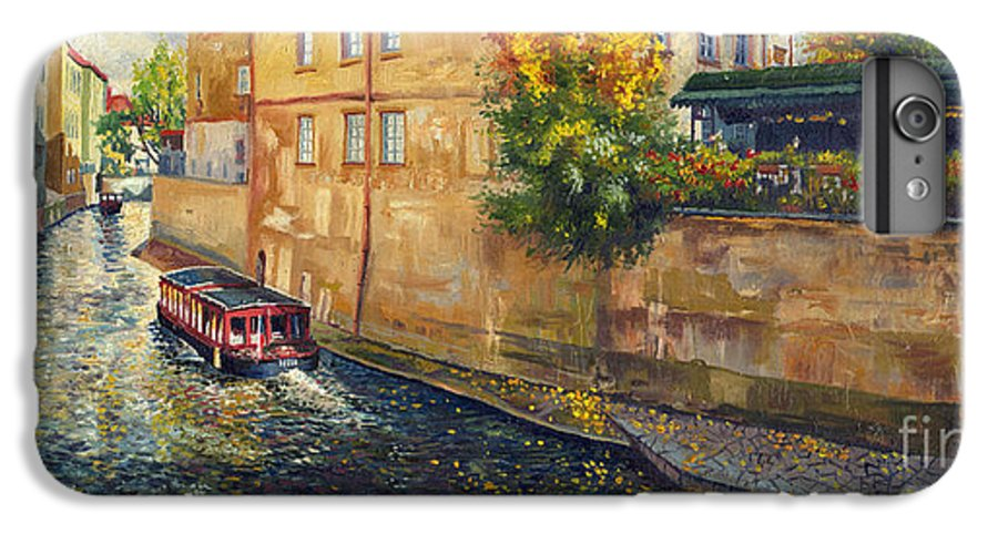 Oil.prague IPhone 6 Plus Case featuring the painting Prague Venice Chertovka 2 by Yuriy Shevchuk