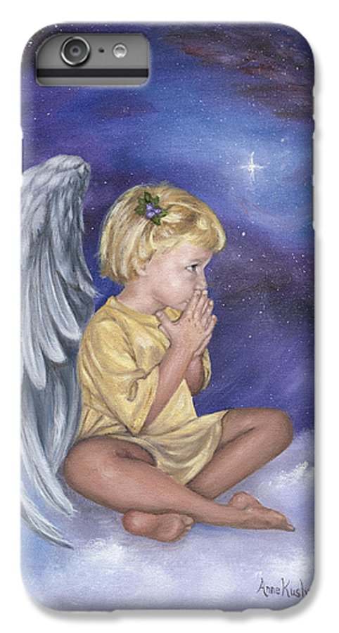 Christmas IPhone 6 Plus Case featuring the painting Praying Angel by Anne Kushnick
