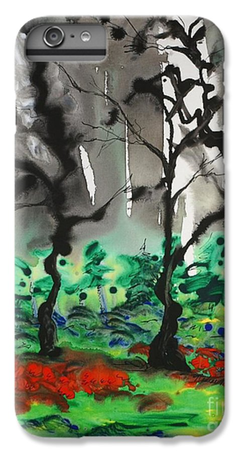 Forest IPhone 6 Plus Case featuring the painting Primary Forest by Nadine Rippelmeyer