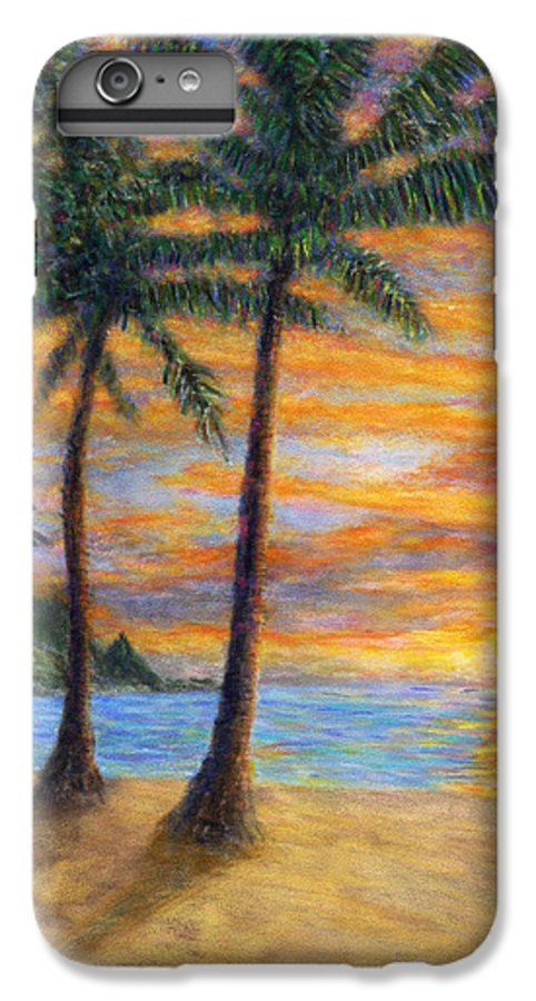 Coastal Decor IPhone 6 Plus Case featuring the painting Princeville Beach Palms by Kenneth Grzesik