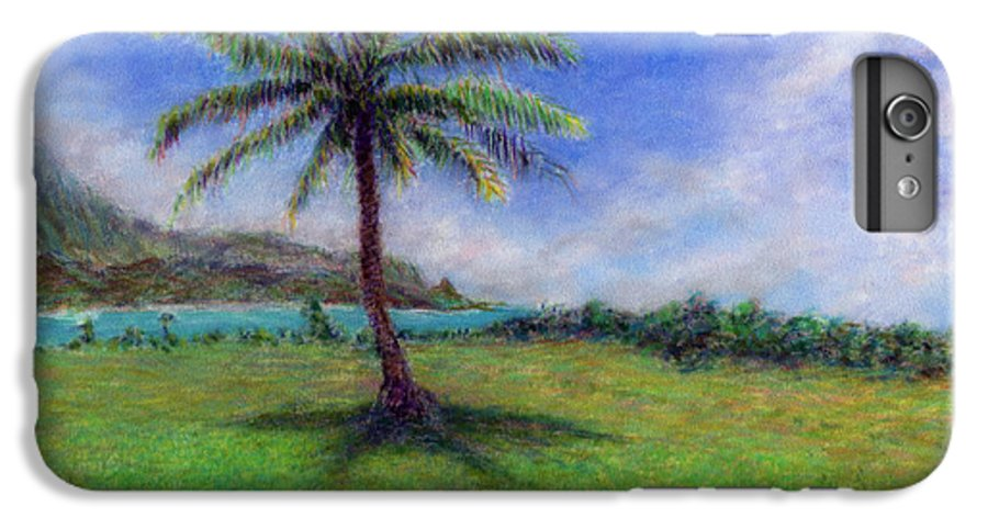 Rainbow Colors Pastel IPhone 6 Plus Case featuring the painting Princeville Palm by Kenneth Grzesik