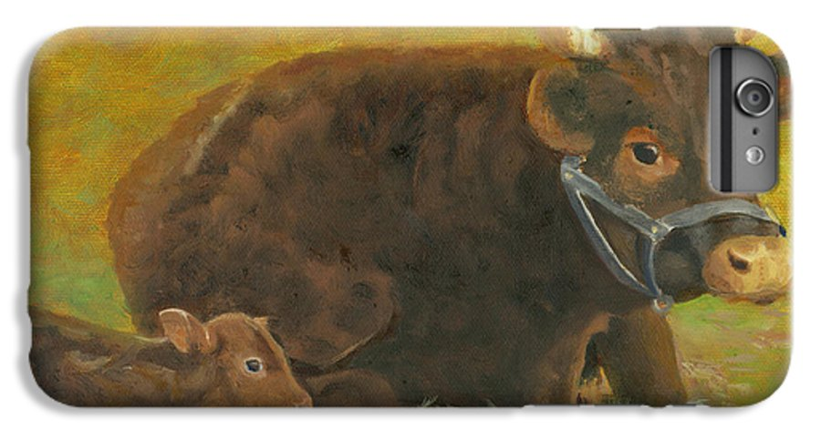 Cow Calf Bull Farmscene IPhone 6 Plus Case featuring the painting Proud Pappa by Paula Emery