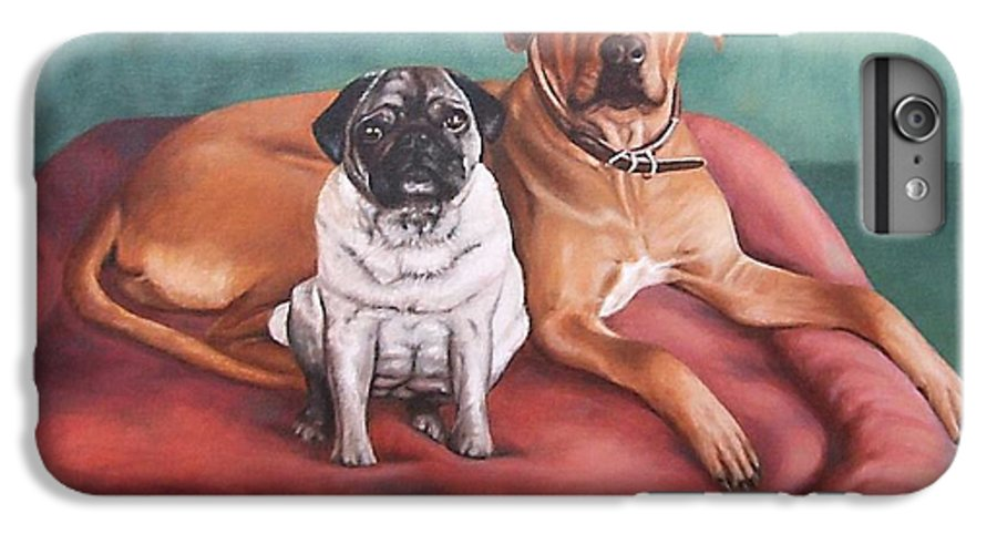 Dogs IPhone 6 Plus Case featuring the painting Pug And Rhodesian Ridgeback by Nicole Zeug
